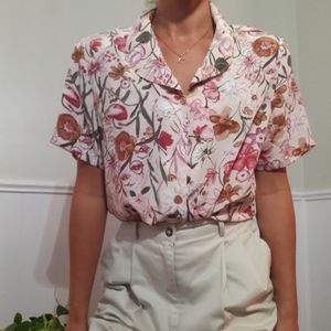 Pink floral short sleeve blouse